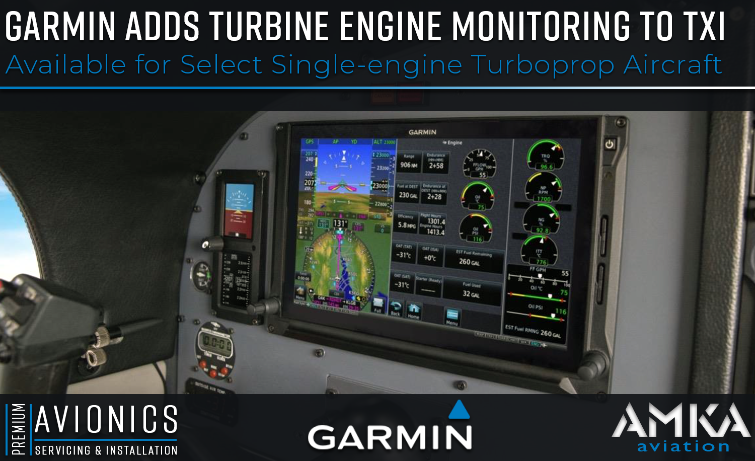 Garmin Adds Turbine Engine Monitoring to TXi - AMKA Aviation